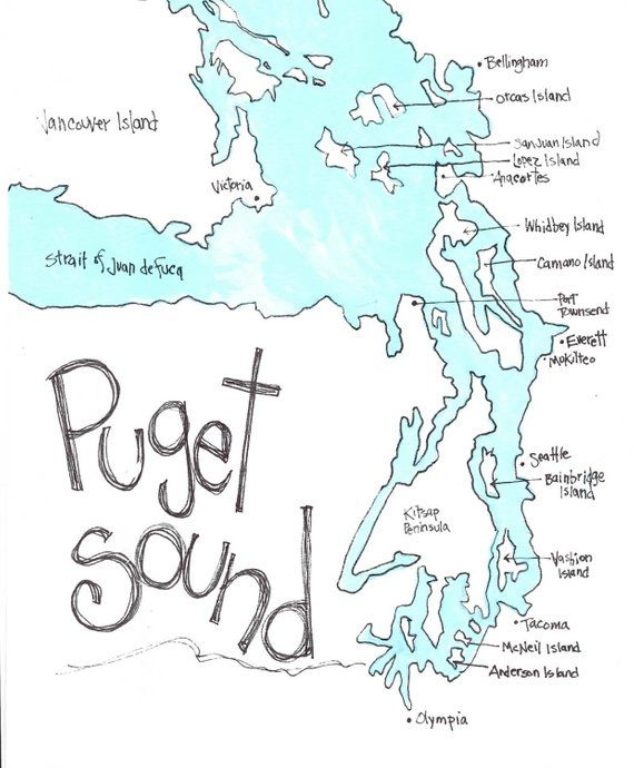 Puget Sound Northwest Gift Washington State Northwest Waterways - Puget-sound-on-us-map