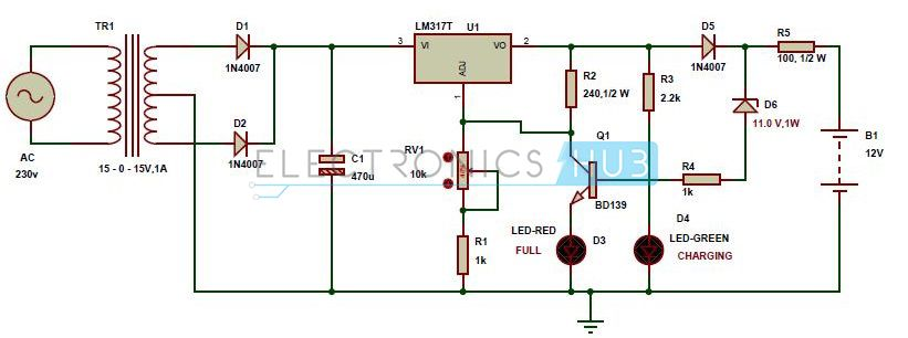 automatic 12v portable battery charger circuit using lm317 charger automatic 12v portable battery charger circuit using lm317 circuit diagramsolar