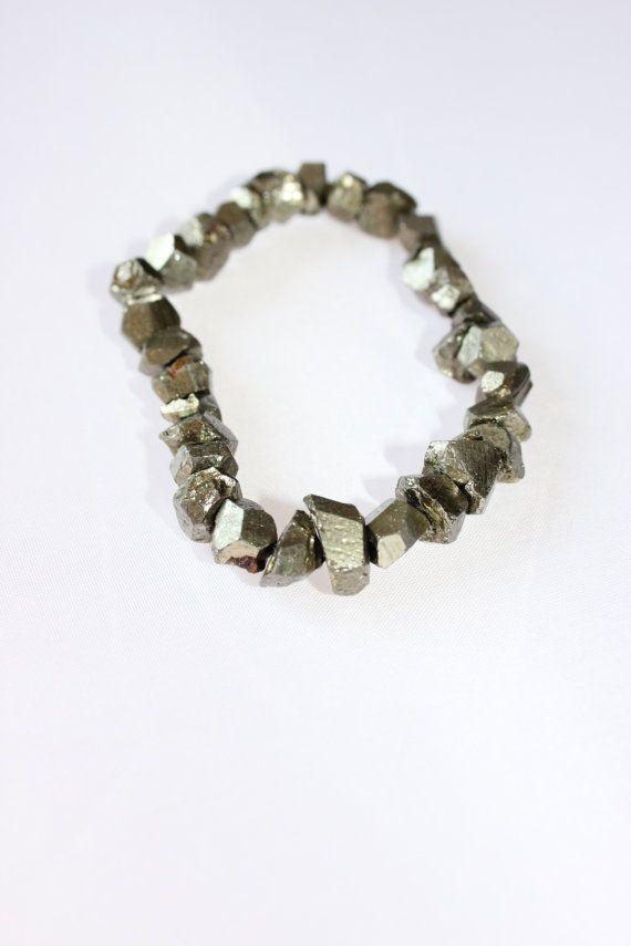 Pyrite fools gold chip beaded gemstone by SweetRockJewelry on Etsy, $10.00