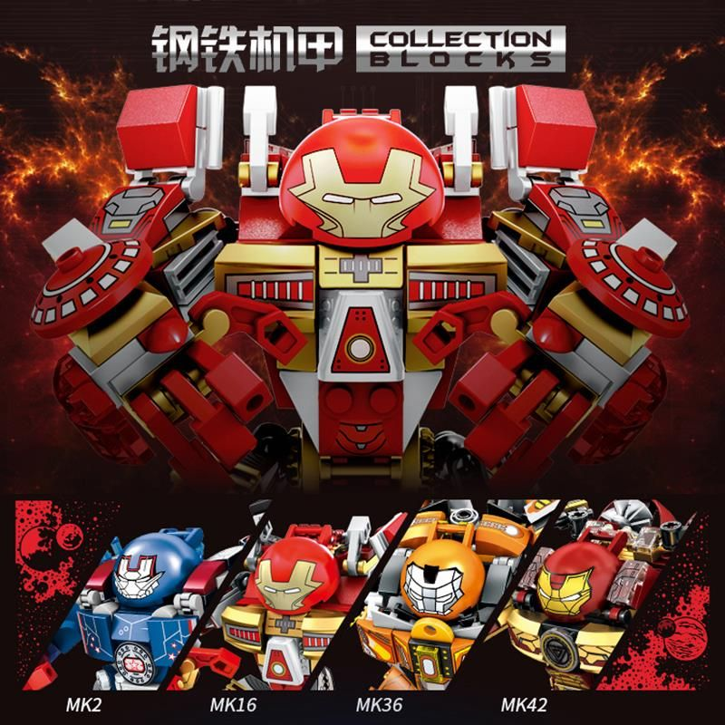 Hulkbuster Figure Set Building Blocks DIY Toys 4Pcs Super Heroes Iron Man