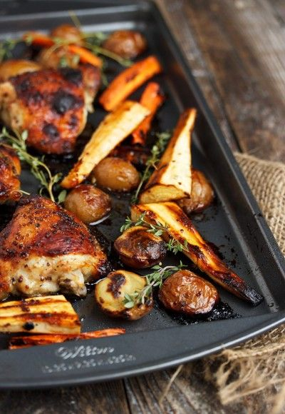 Honey Mustard Chicken and Vegetable Sheet-Pan Dinner - one pan and dinner is done!