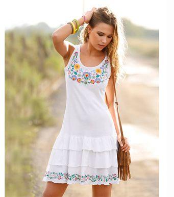 692e703b8b3 vestido #volantes #venca Vestido mujer sin mangas con volantes punto ...