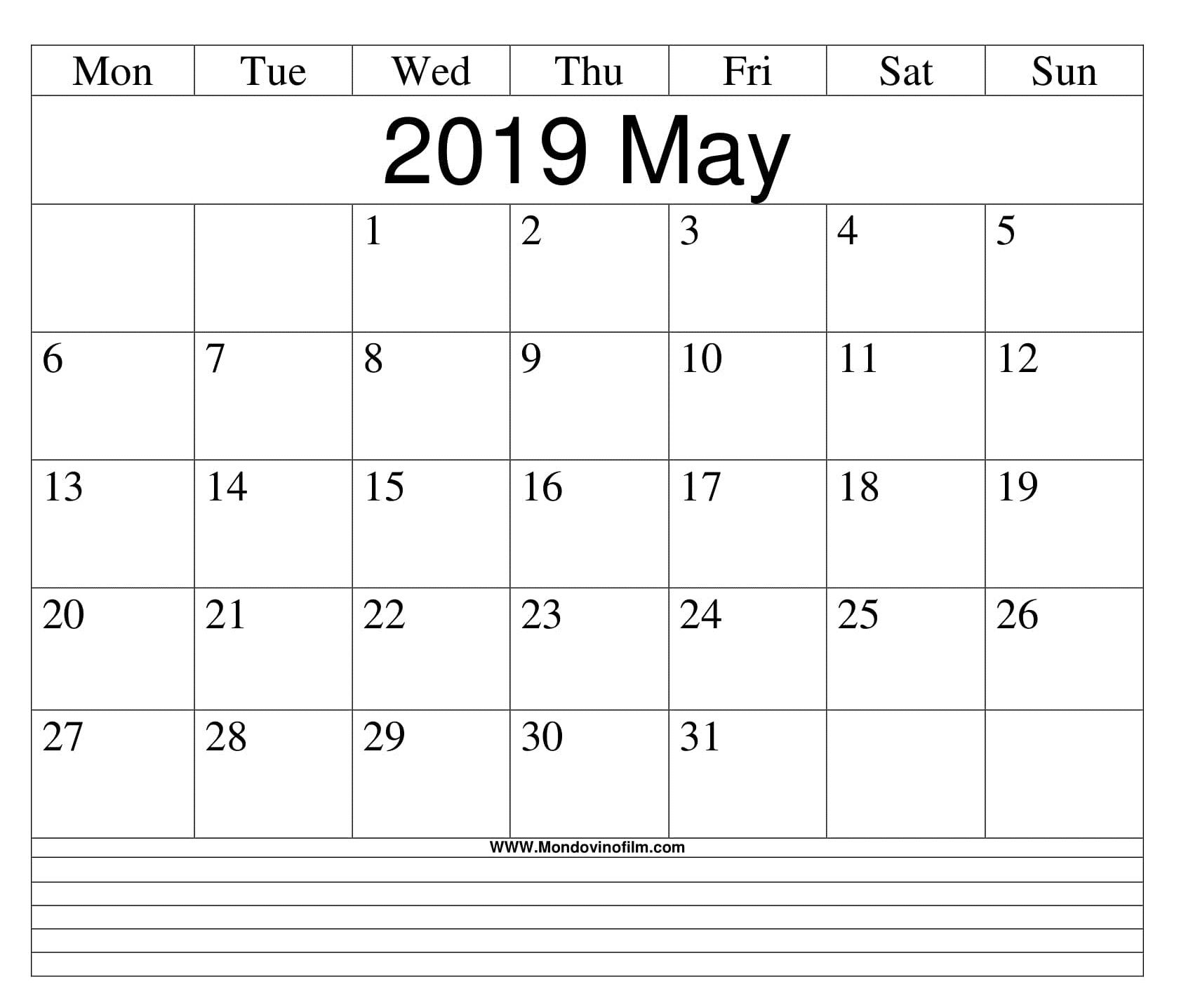 Blank May Calendar Printable Templates Download