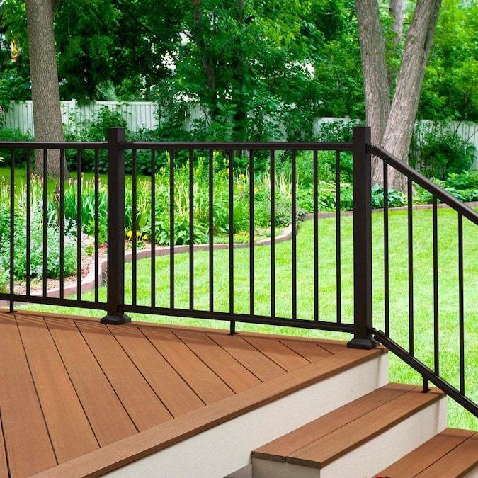 Fiberon Elements Black Aluminum Deck Stair Rail Kit with ...