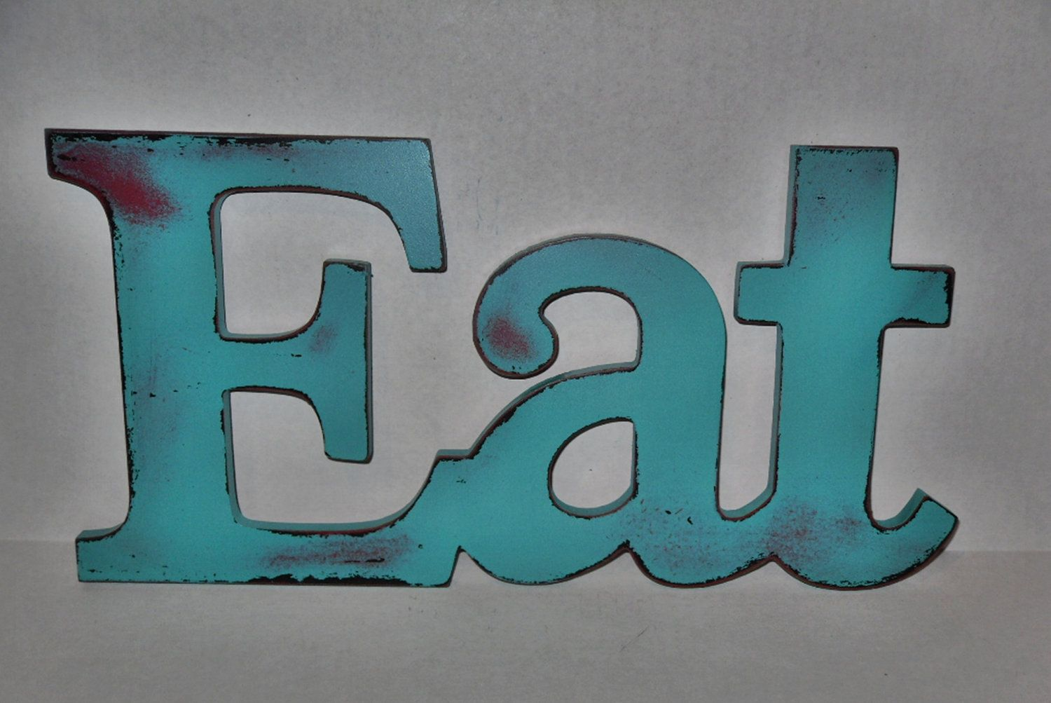 EAT Sign / Kitchen Decor / Red / Shabby / Wall Word/House and Living ...