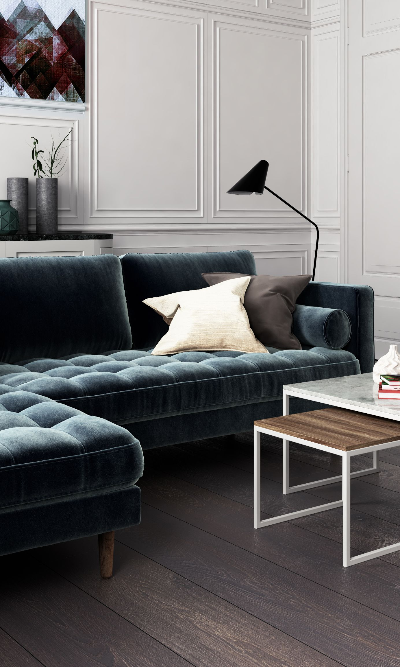 A sophisticated home featuring the Luca Sectional in Vintage