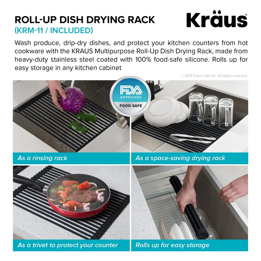 Kraus Kore Workstation 27 Inch Undermount 16 Gauge Single Bowl Stainless Steel Kitchen Sink With Accessories Dish Rack Drying Stainless Steel Kitchen Sink Stainless Steel Kitchen