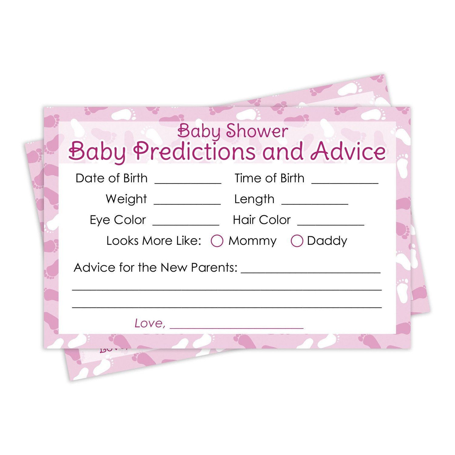 It s a Girl Pink Baby Advice and Predictions Cards Set of 20