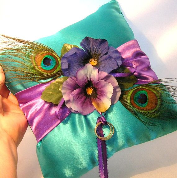 Peacock Wedding Ideas Etsy: Peacocks And Pansies Ring Bearer Pillow By Sljbridal On
