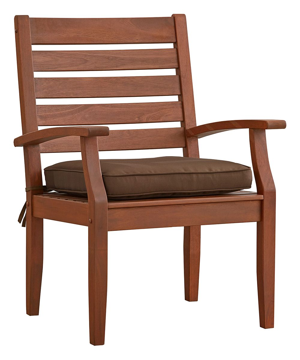 Brown Modern Oiled Wood Outdoor Dining Arm Chair - Set of Two