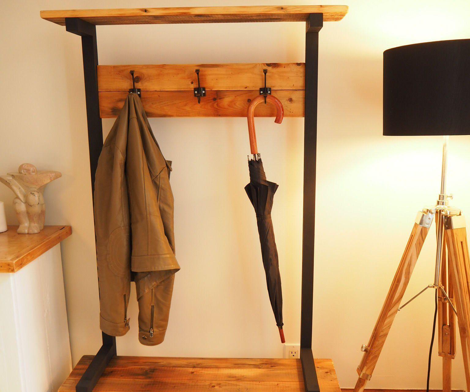 Industrial Coat Rack Bench Hall Tree