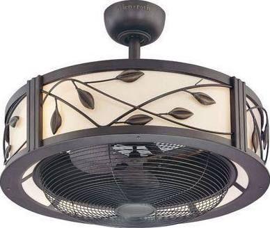 Ceiling Fan Light Enclosed Leaves Ceiling Fan In Kitchen Bronze