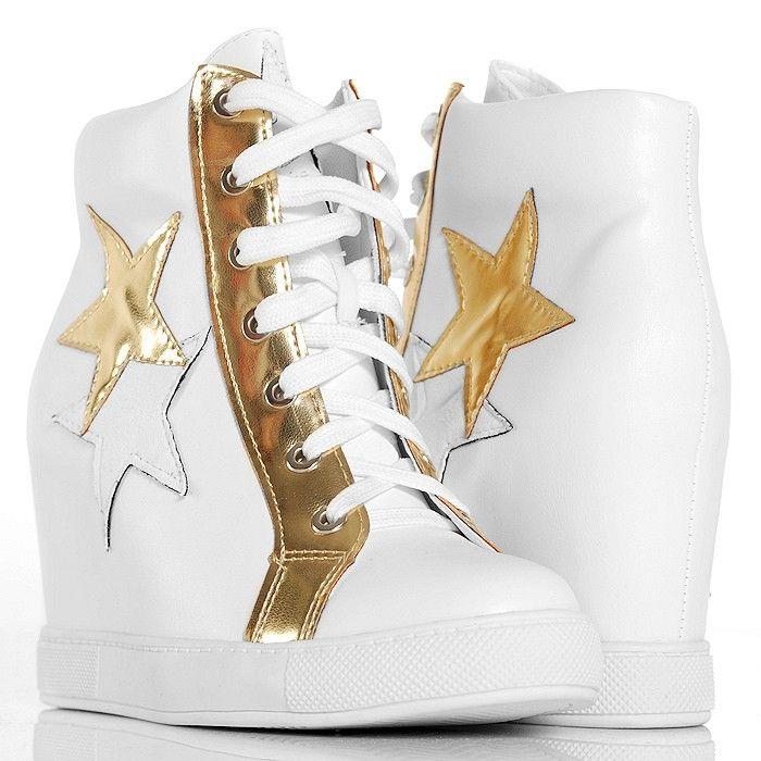 Sneakersy Biale Na Koturnie Brokatowa Gwiazda Sneakers High Top Sneakers Top Sneakers
