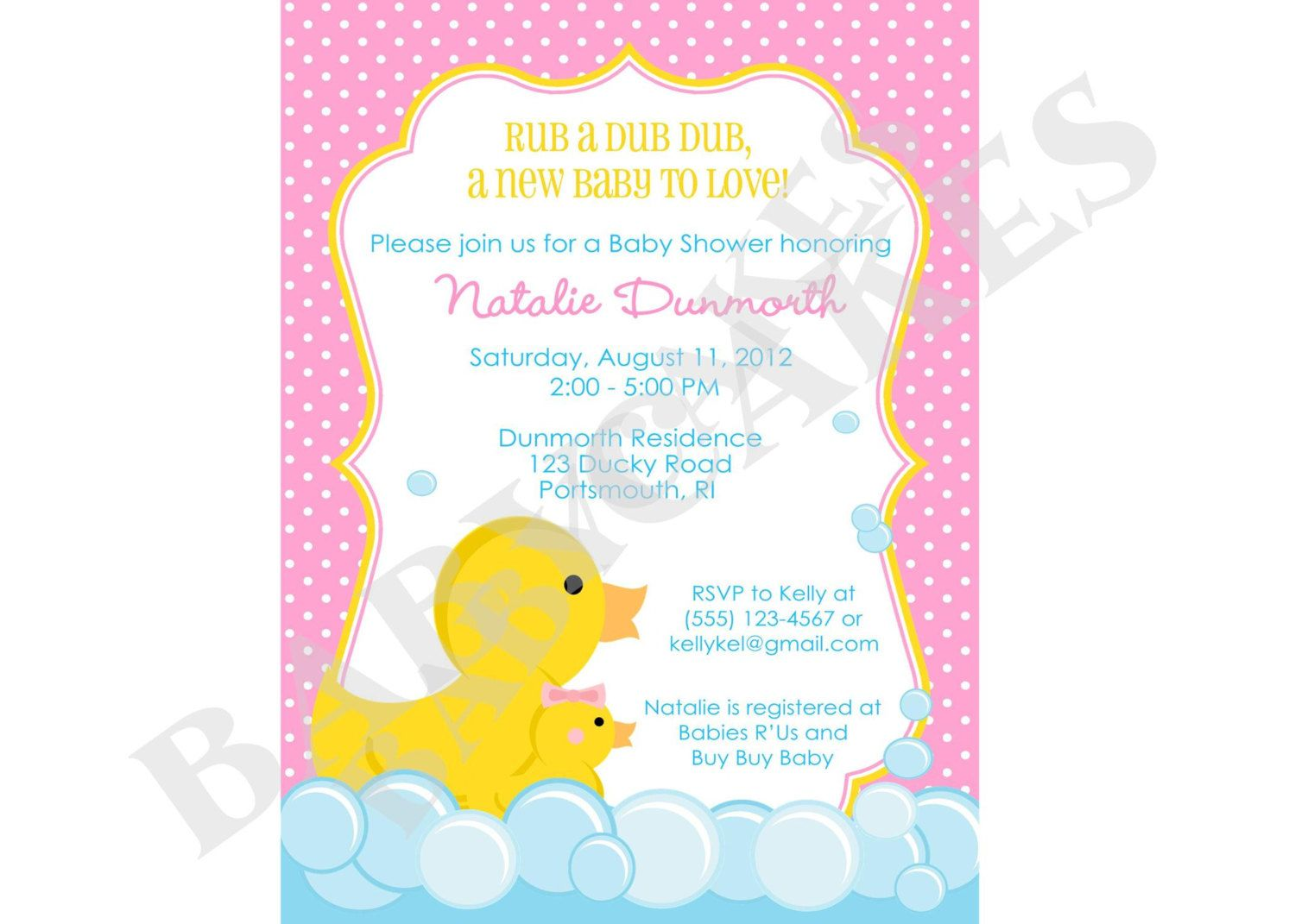 Rubber Ducky Baby Shower Invitation rubber duckie girl baby sprinkle ...