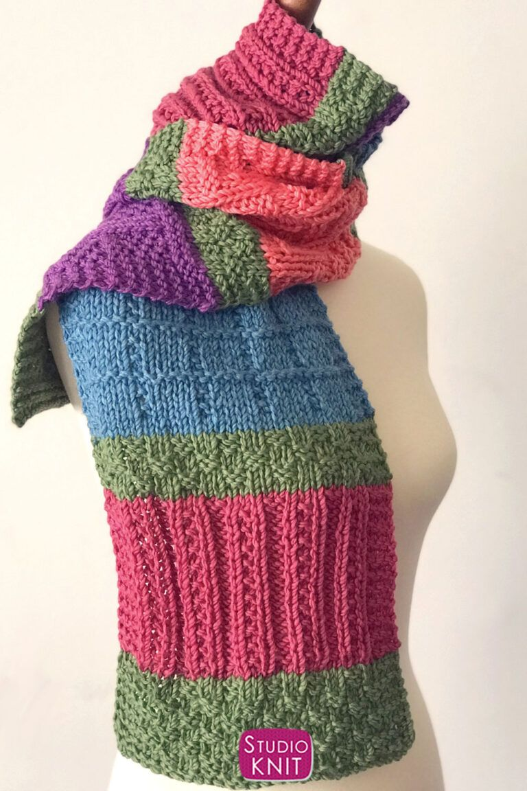 Easy Color Block Scarf Knitting Pattern in 2020 | Scarf ...