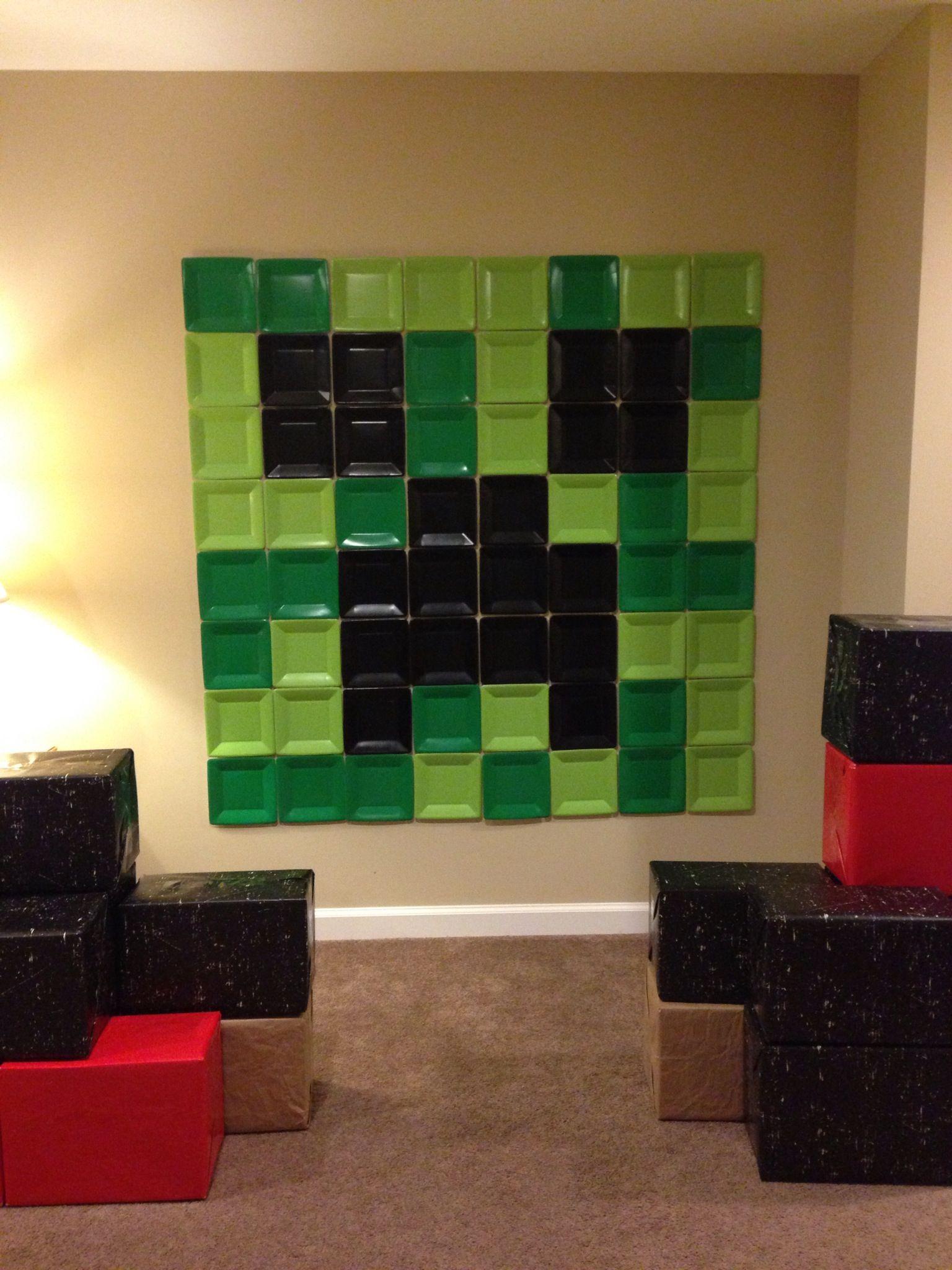 Minecraft Simple Wall Designs : minecraft, simple, designs, Creeper, Small, Paper, Plate, Decor, Minecraft, Wall,, Designs,, Stickers, Wallpaper