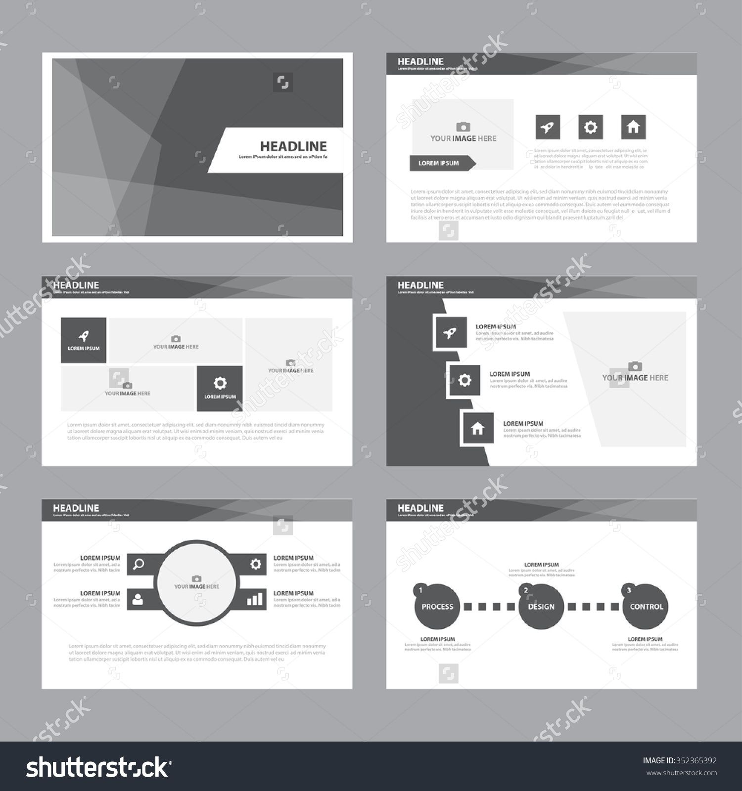 Black White Presentation Template Infographic Elements Flat Design