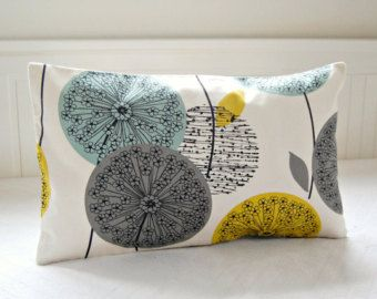Genial Teal Grey Mustard Cushion Cover, Dandelion Flower Decorative Pillow Cover  18 Inch