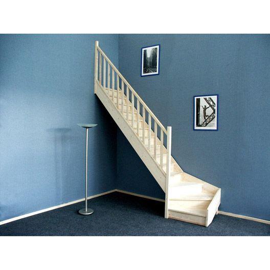 escalier deva quart tournant en bois massif 14 marches acc s combles pinterest. Black Bedroom Furniture Sets. Home Design Ideas