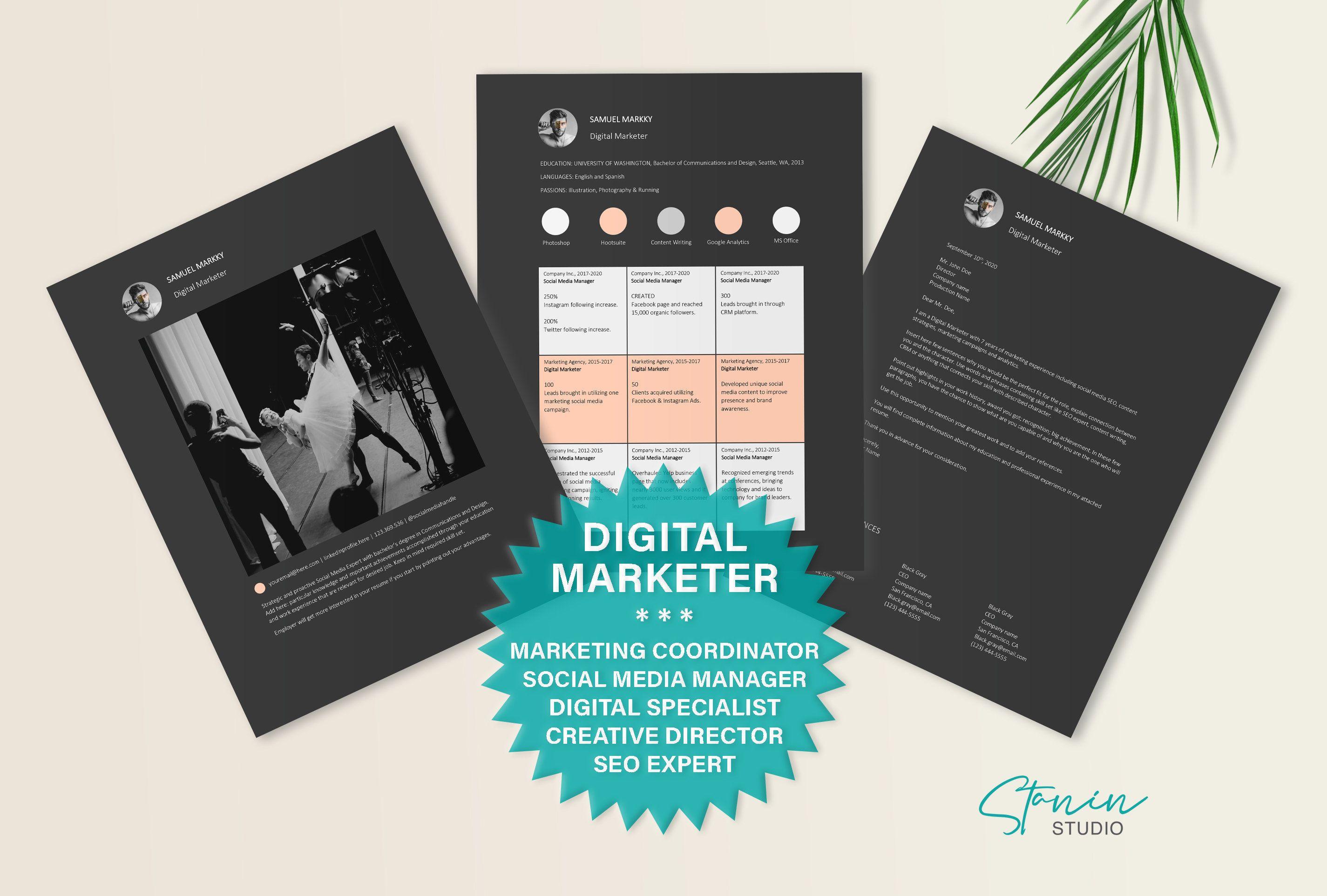 Digital marketer resume template social media specialist