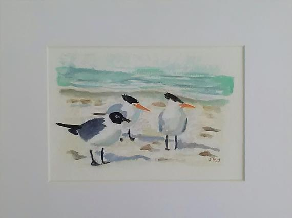 Seagull Painting Watercolor Painting Seabirds Coastal Art