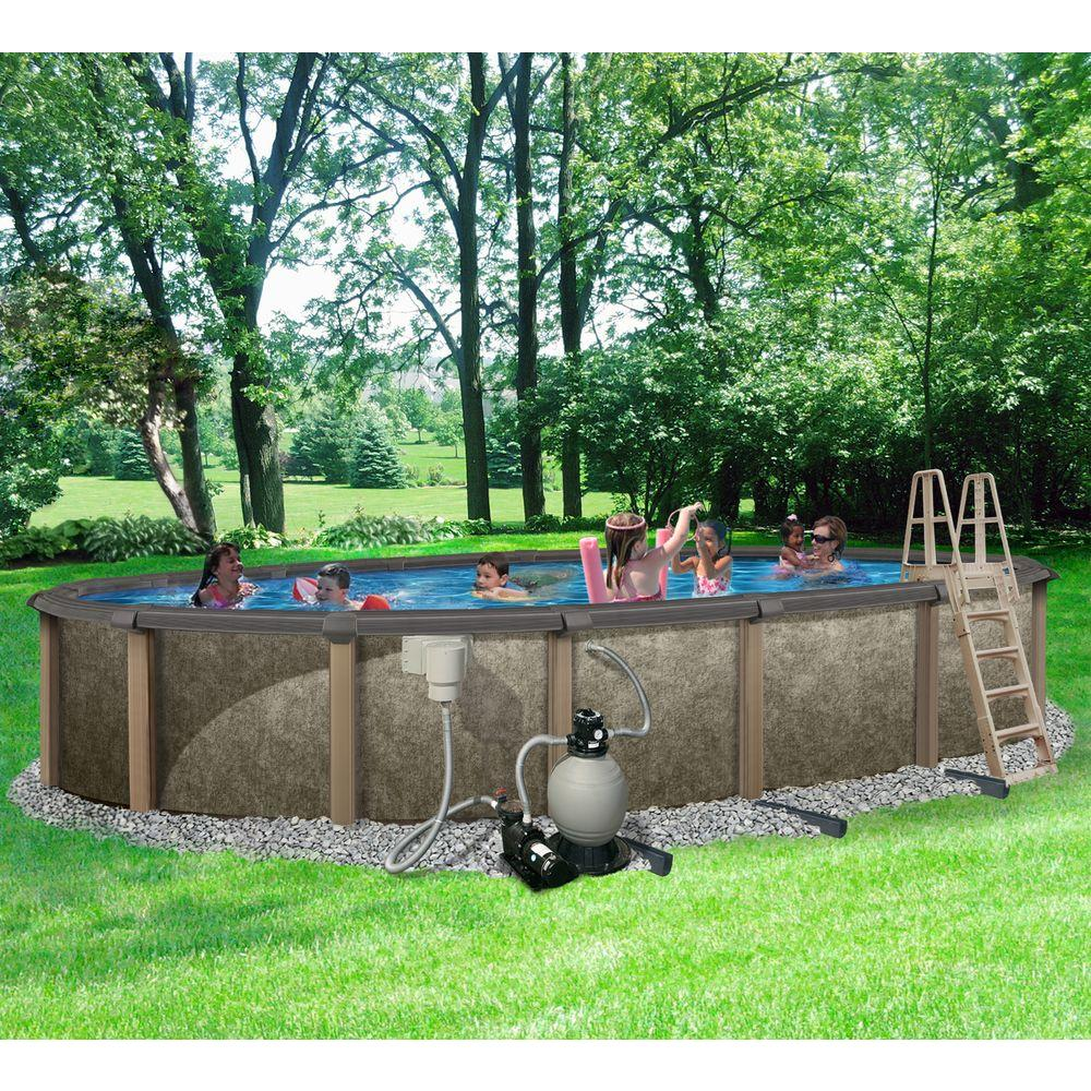 Riviera 18 Ft X 33 Ft Oval 54 In Deep 8 In Top Rail Metal Wall Swimming Pool Package Brown Gray Pool Landscaping Backyard Pool Landscaping In Ground Pools