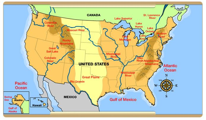 Us Physical Features Map Physical Features Map Of The United States   Free Printable maps