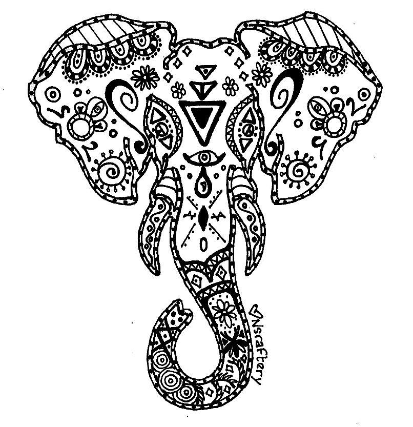 Mandela Coloring Page Elephant