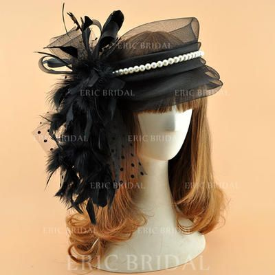 Organza avec Feather/De faux pearl Chapeaux de type fascinator Style Vintage Dames Chapeau (196124681) #fascinatorstyles