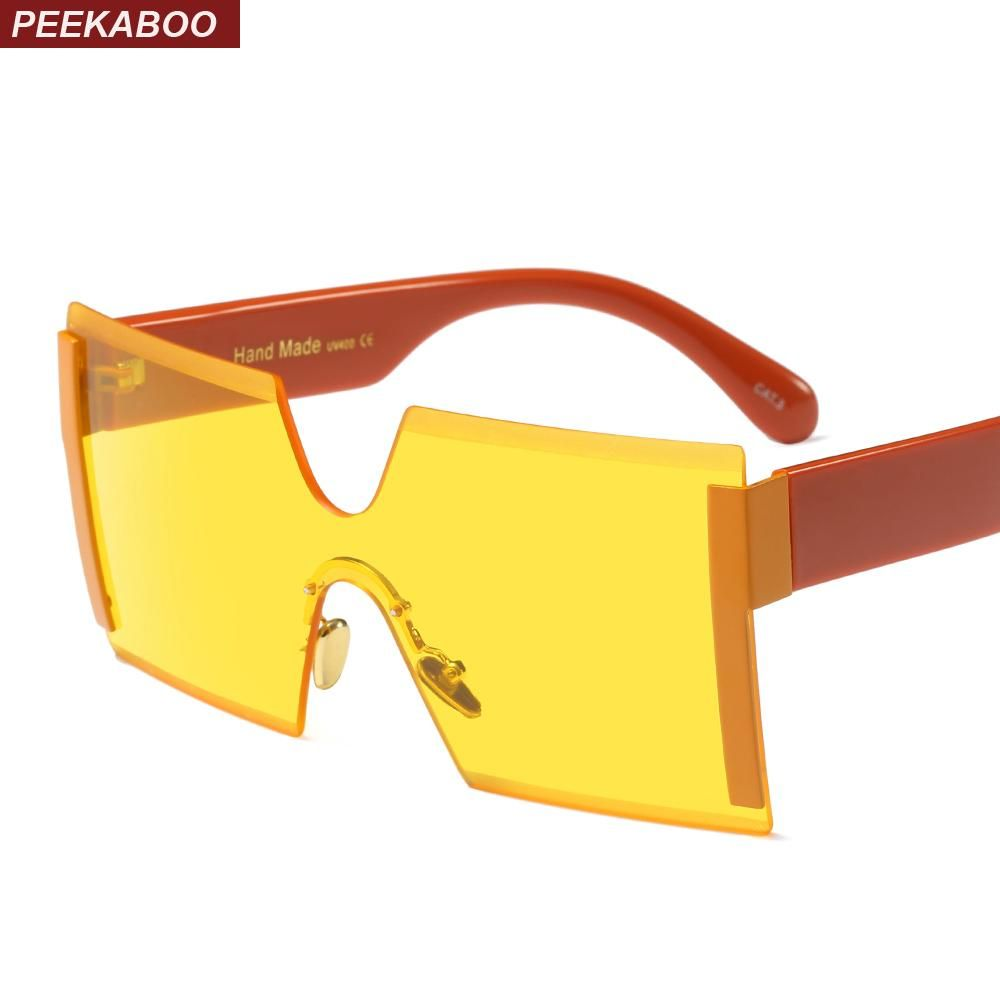 88a3d1908a Peekaboo oversized rimless sunglasses square big black one piece lens yellow  sun glasses for women men