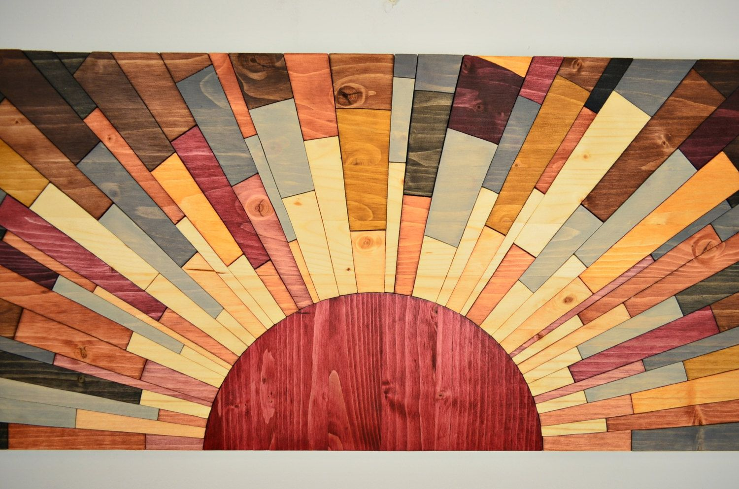 wood wall art - SUNSET ON JUPITER - handmade original modern wood ...