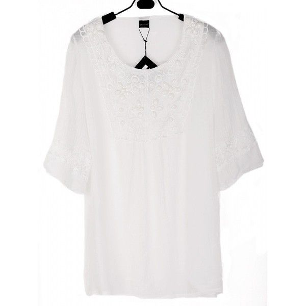 Women Lace Cotton Round Neck Short Sleeve White Loose Free Size... ($11) ❤ liked on Polyvore