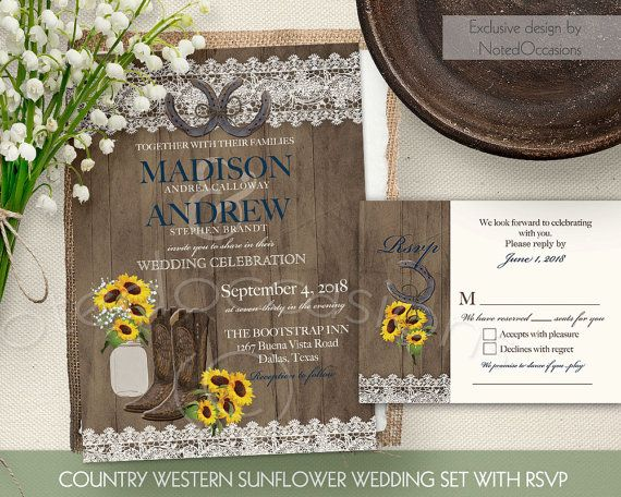 Cheap Sunflower Wedding Invitations: Rustic Wedding Invitation Set Printable Sunflower Wedding