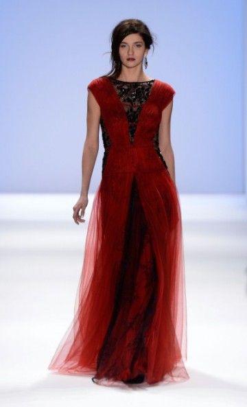 Tadashi Shoji Fall 2013  like the red with black lace and dark hair <3