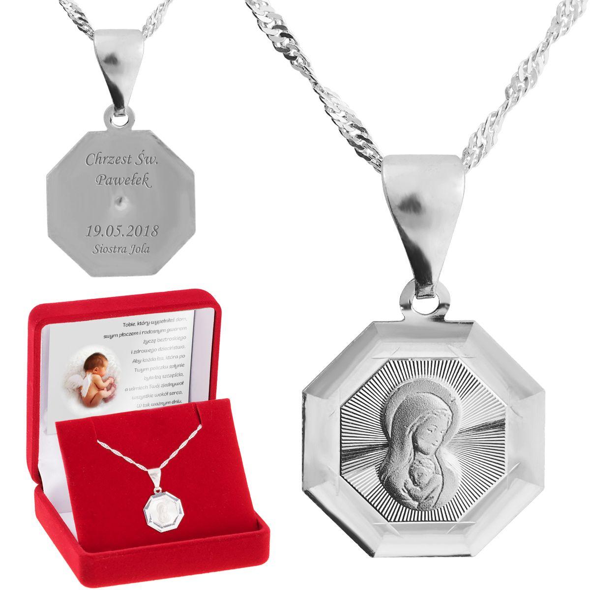 Srebrny Medalik Matka Boska Madonna Pr 925 Grawer Matka Boska