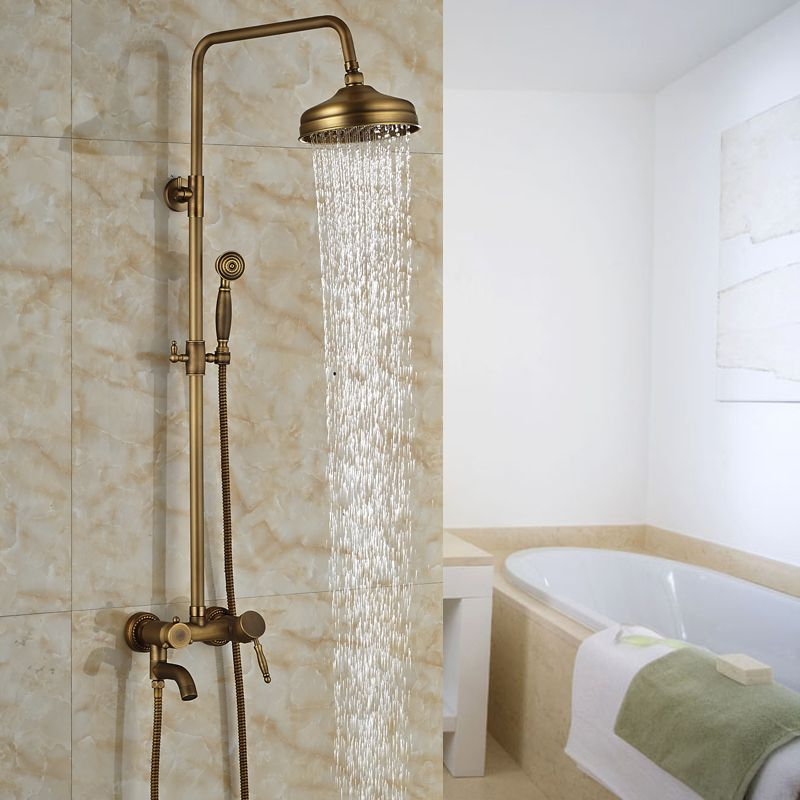 Antique Brass 8 Rain In Wall Shower Faucet Wall Mount Bathroom