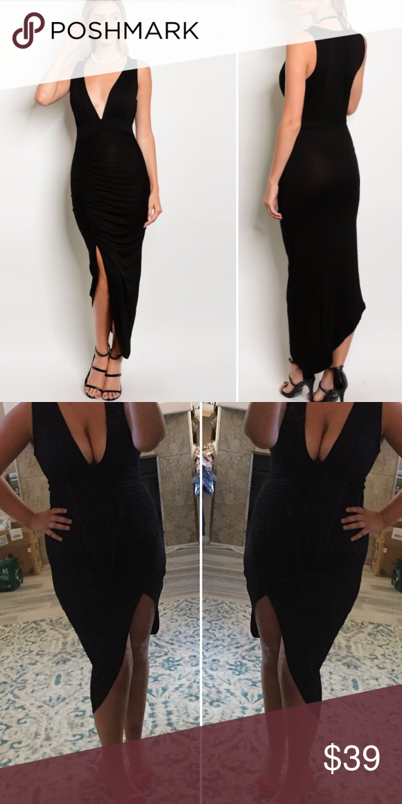 34703cd75363 Sexy black dress Super sexy black dress with high slit and plunging neckline  Sweet Sassy Vines Boutique Dresses
