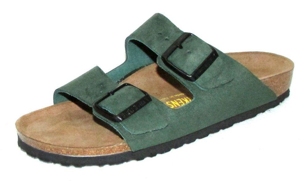 BIRKENSTOCK ARIZONA MEN'S Green Leather 2 Strap Slides