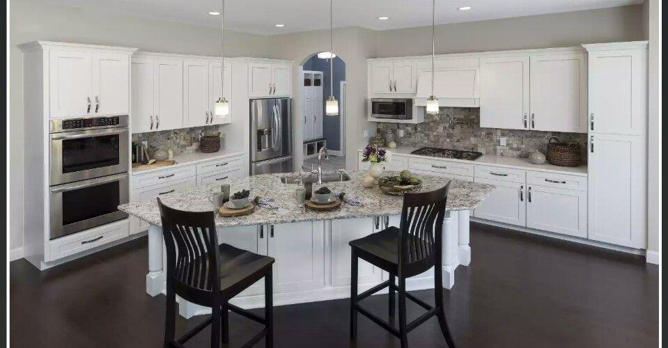 Cabinets: Jamestown white | Kitchen cabinets in bathroom