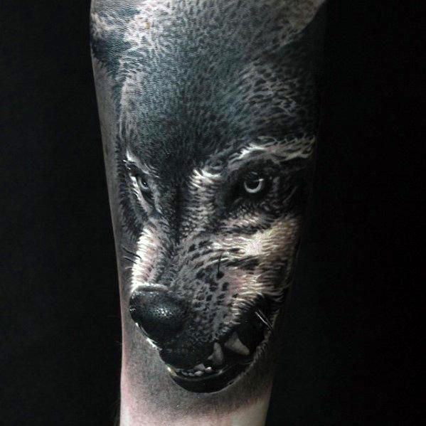 50 Realistic Wolf Tattoo Designs For Men Canine Ink Ideas Wolf Tattoos Wolf Tattoo Design Wolf Tattoos Men