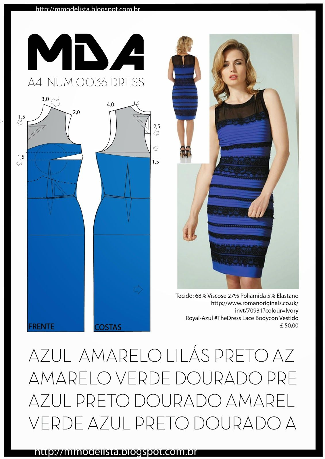 A4 - NUM 0036 - DRESS | Molde, Costura y Patrones