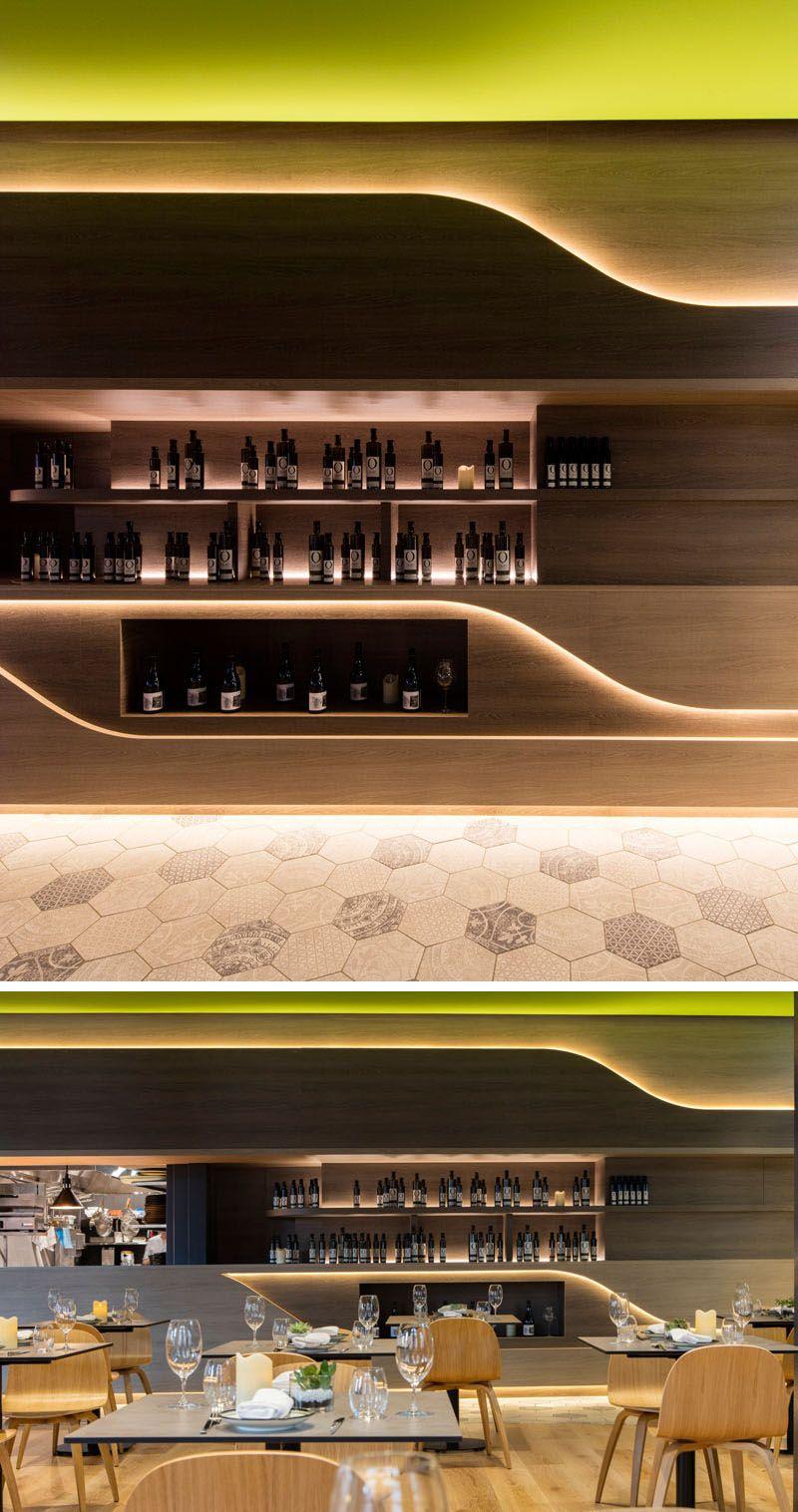 Interior Lighting Design Ideas - A wall of hidden LED lights behind on restaurant and bar, restaurant bar area, under bumper light bar led, light-up coasters led, restaurant bar design ideas,