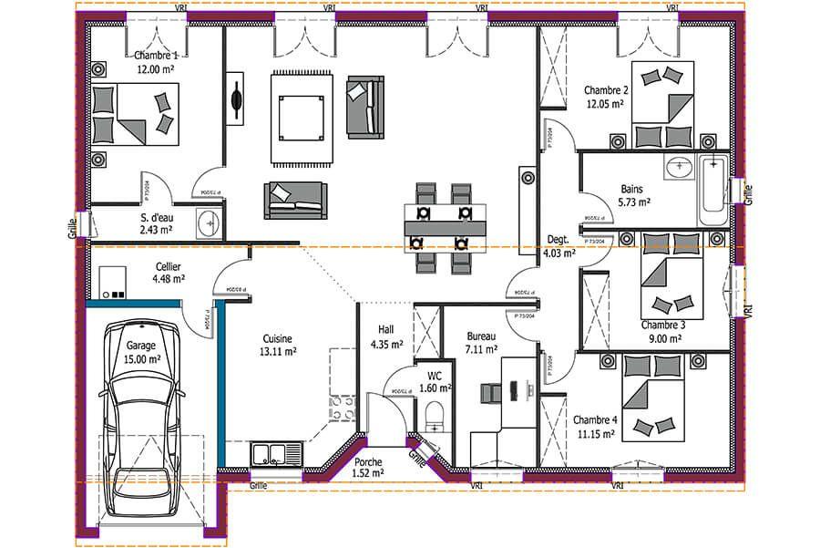 8 Images Plan Maison Etage 4 Chambres 1 Bureau 5