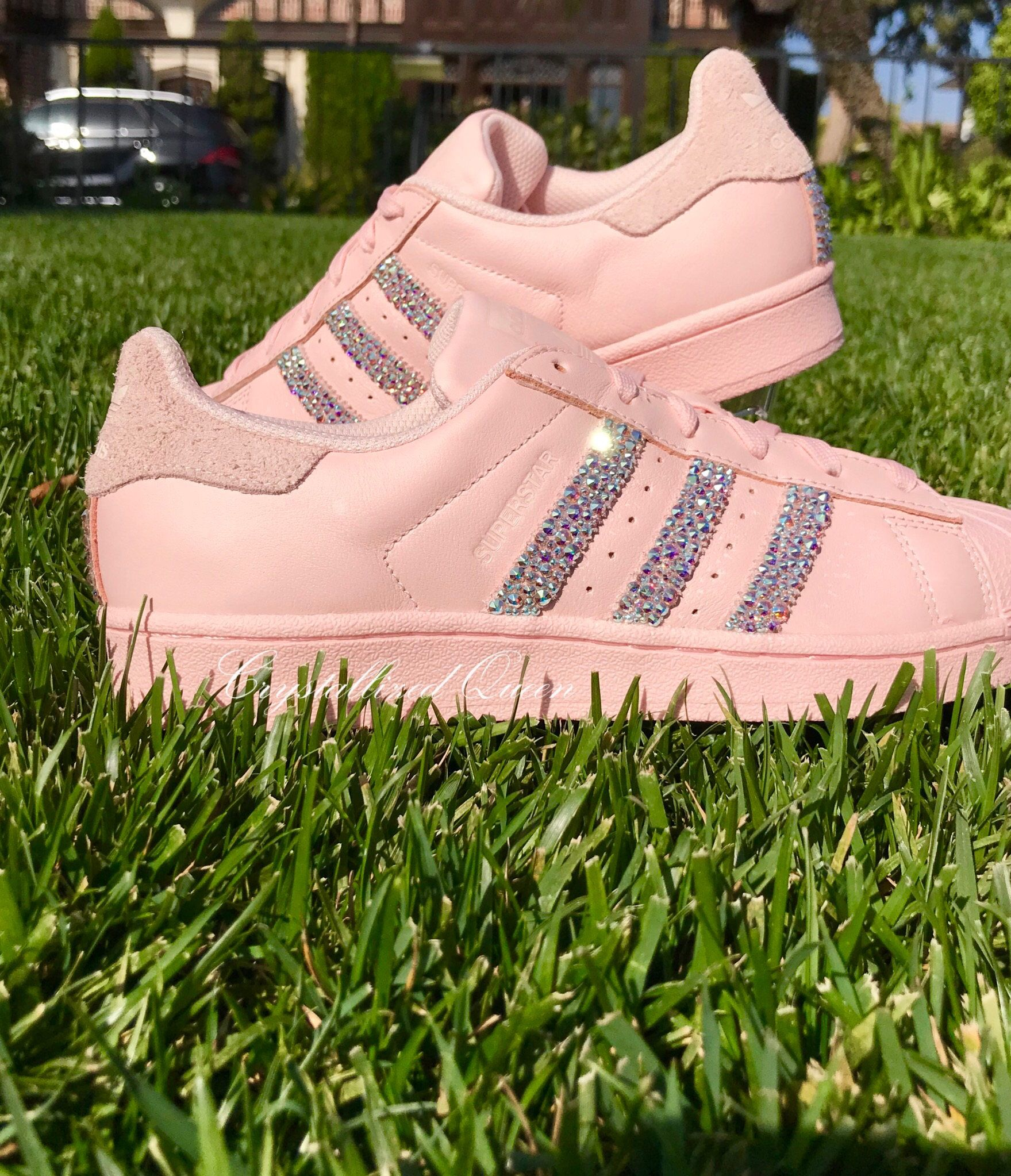 d125cbb806ea Adidas Superstar in Icypink with AB Swarovski Crystals by CRYSTALLIZEDQUEEN  on Etsy