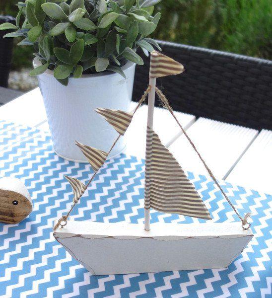 dekoration schiff segelboot holz tischdeko maritim 1x. Black Bedroom Furniture Sets. Home Design Ideas