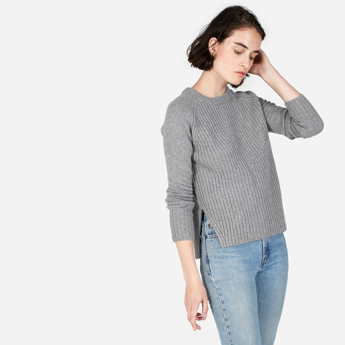 The Ribbed Wool-Cashmere Crew | Cashmere and High low