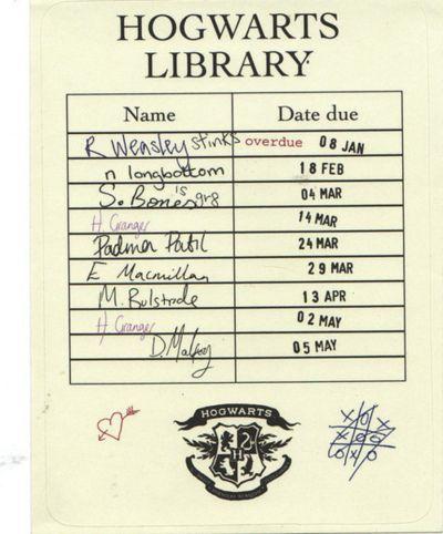 Hogwarts Library Card Hogwarts Library Harry Potter Printables Harry Potter Universal