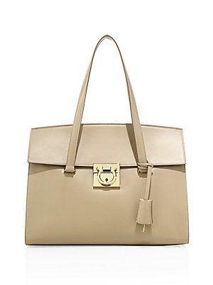 8499ef9d2d88 Salvatore Ferragamo Mara Medium Leather Satchel - New Bisque - Size ...
