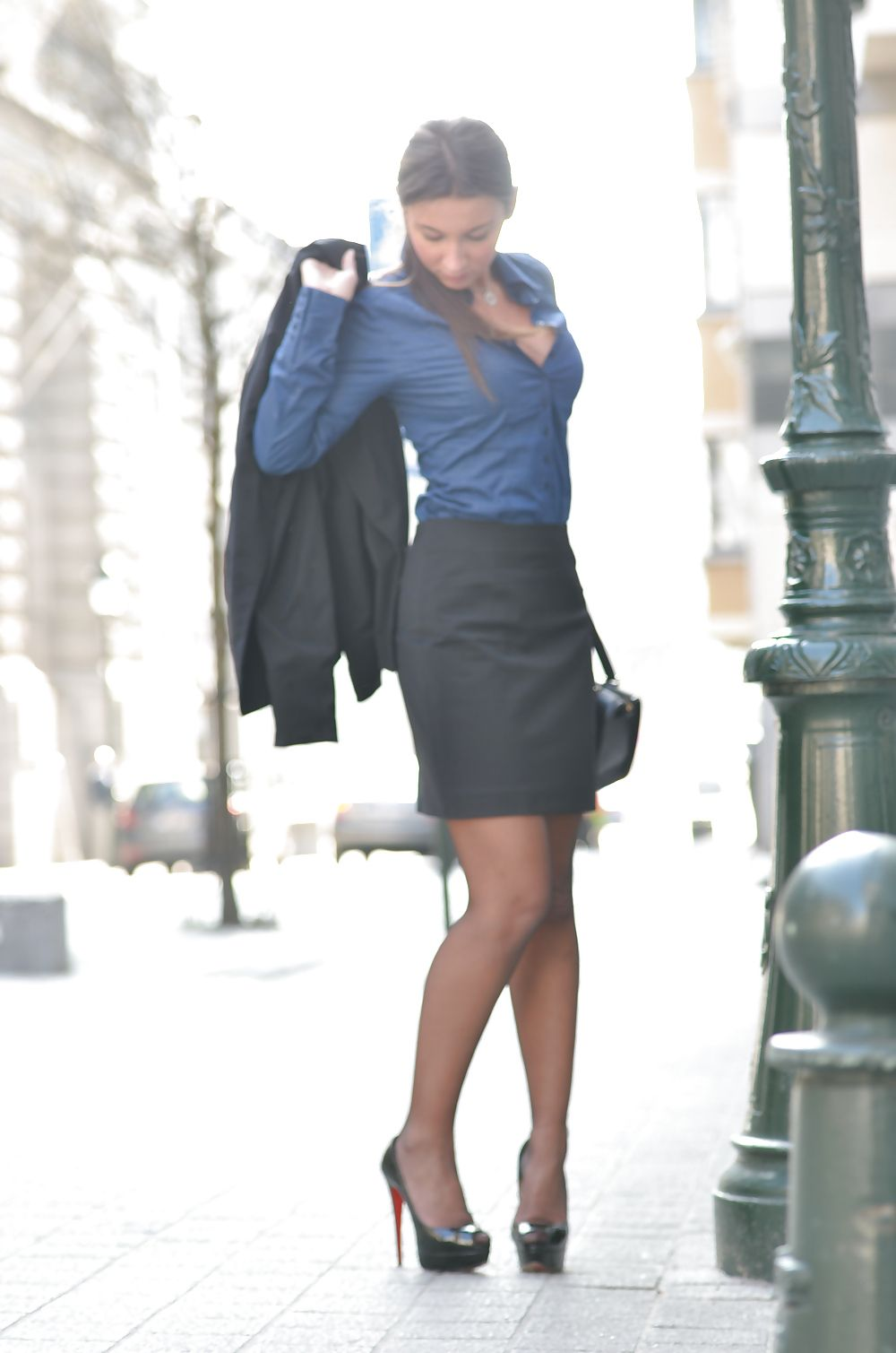Females wearing pantyhose and heels