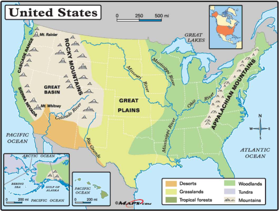 Major U S Landforms And Rivers